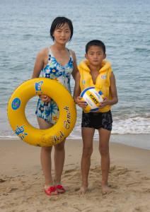 North Korean kids at the beach - North Korea