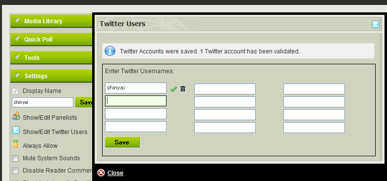 Twitter accounts can be added to Coveritlive