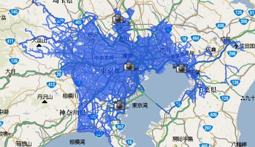 関東での Google Maps Streetview の対応エリア