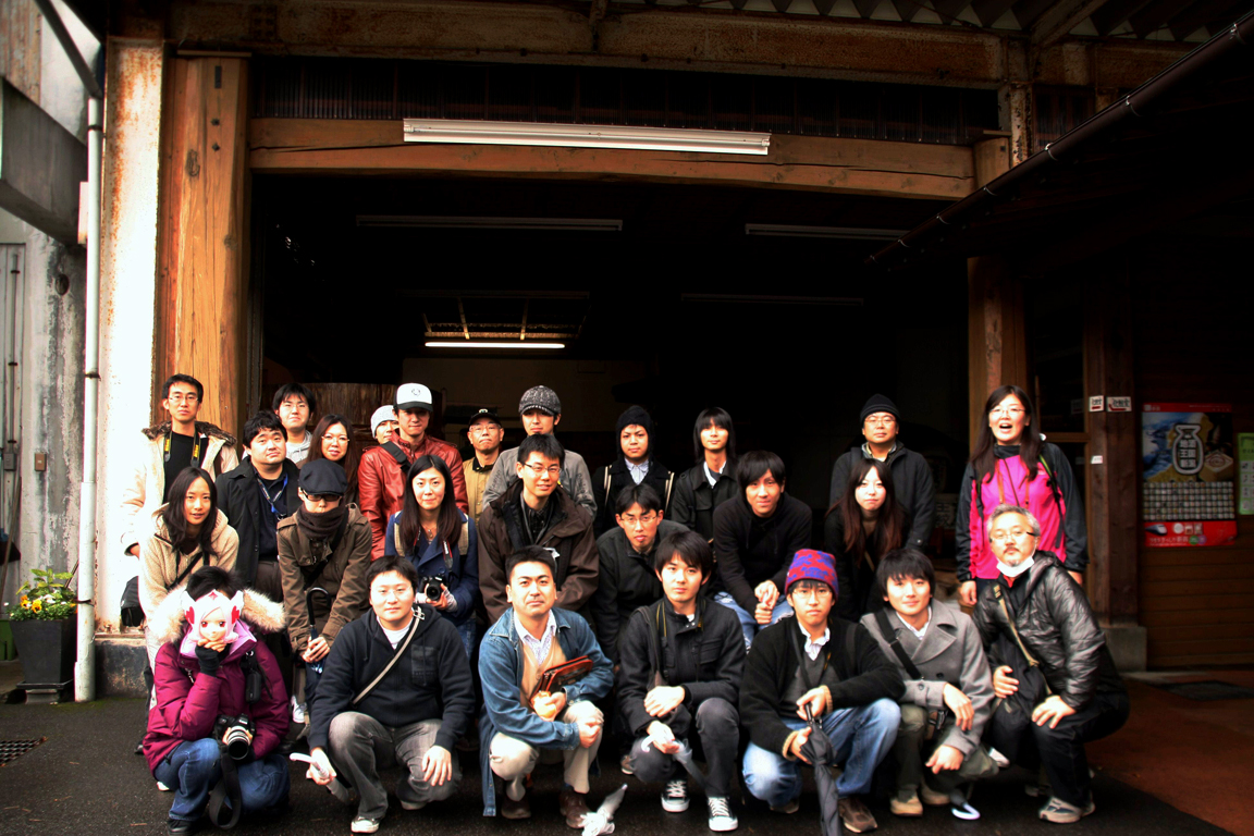 Group photo in Ichishima Sake Brewery
