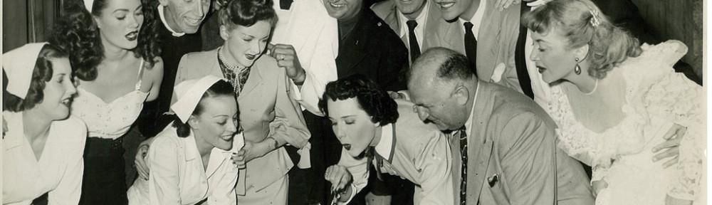 "Maree Austin, US star John Hubbard and cast of ""Mary had a little"" celebrate a birthday, Tivoli Theatre, Melbourne, 1951 / Harry Jay"
