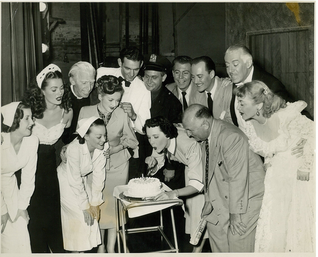 "Maree Austin, US star John Hubbard and cast of ""Mary had a little"" celebrate a birthday, Tivoli Theatre, Melbourne, 1951 / Harry Jay"
