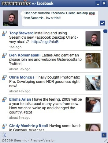 Screenshot of Facebook Desktop Client from Seesmic (Air App) [RT]